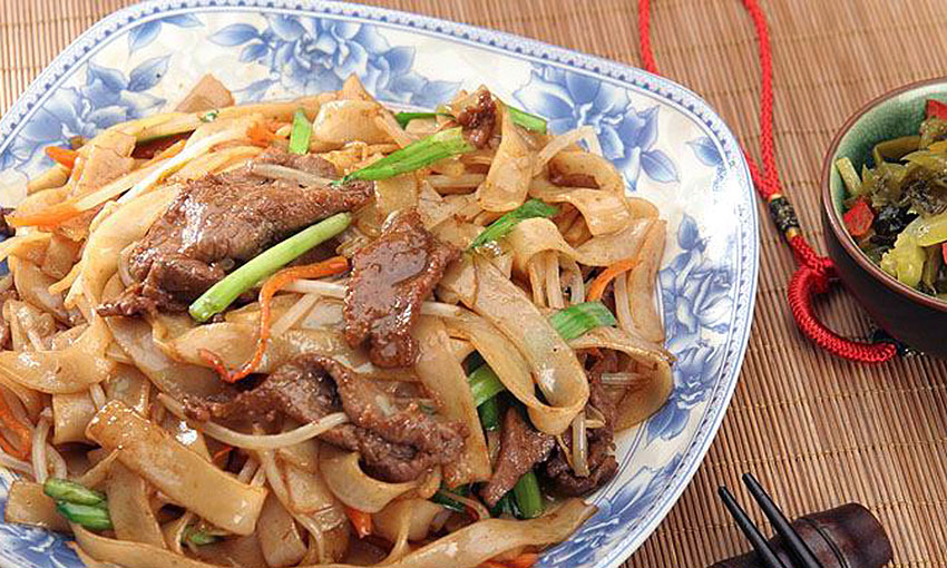 Chinese food West noodles with beef